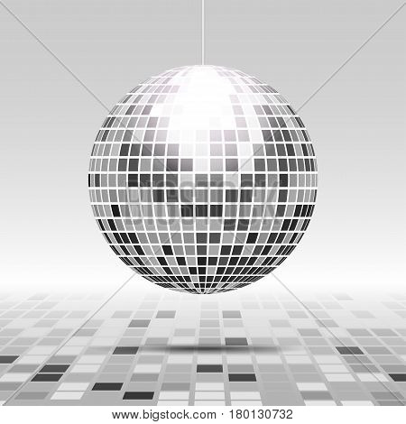 Disco ball icon isolated on grayscale background