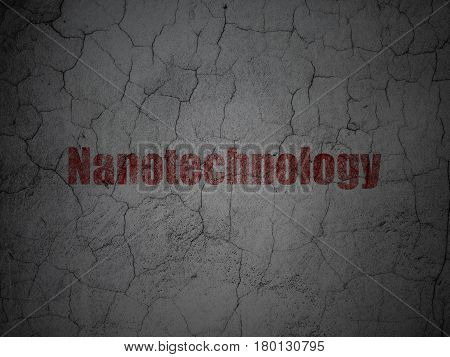 Science concept: Red Nanotechnology on grunge textured concrete wall background