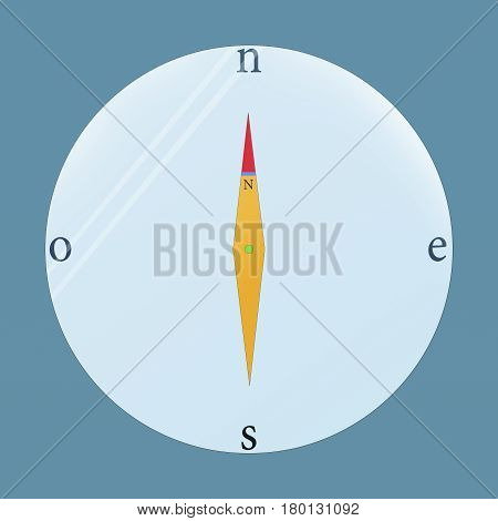 infographic of a compass needle of yellow and red on a blue background to understand a concept of topographic education