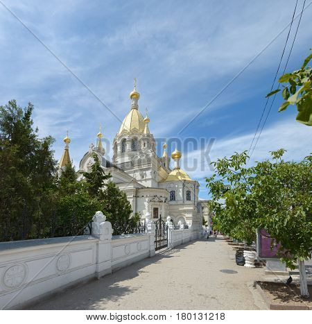 SEVASTOPOL, CRIMEA, RUSSIA - JULY 26: Summer sun is illuminating orthodox Christian cathedral of Protection of the Theotokos (Pokrovsky) on July 26, 2013 in Sevastopol, Crimea, Russia.