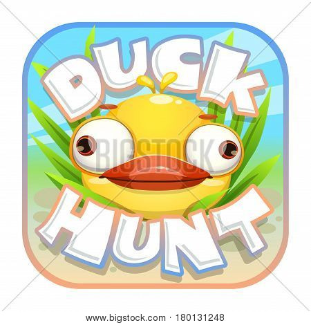 Duck hunt sticker. App icon with funny crazy yellow bird. Game design asset.