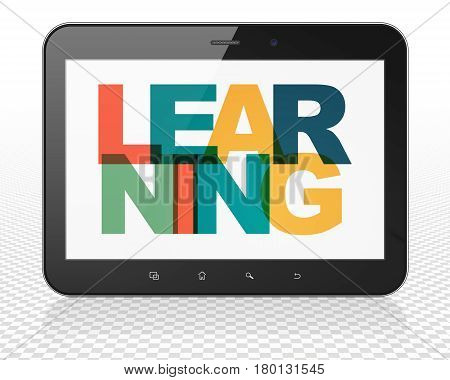 Learning concept: Tablet Pc Computer with Painted multicolor text Learning on display, 3D rendering