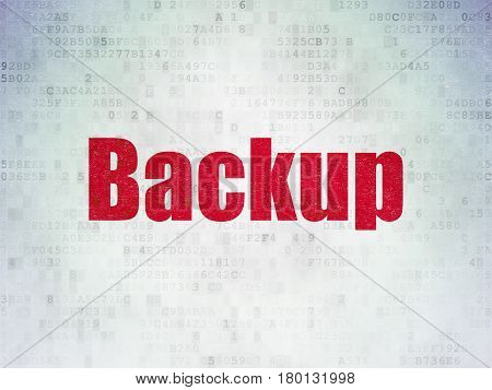 Programming concept: Painted red word Backup on Digital Data Paper background