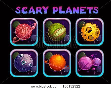 Cartoon scary planet app icons set. Vector space poster template.