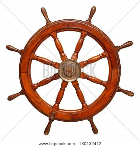 Vintage ships wheel made of dark wood. Isolated on a white background