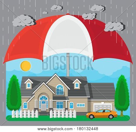 House and car protection concept. Umbrella over house with car, fence, trees, sun. Vector illustration in flat style