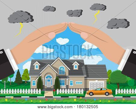 House and car insurance concept. Hands over house with car, fence, trees, sun. Vector illustration in flat style