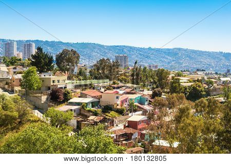 Small houses on the hill in Vina del Mar Chile