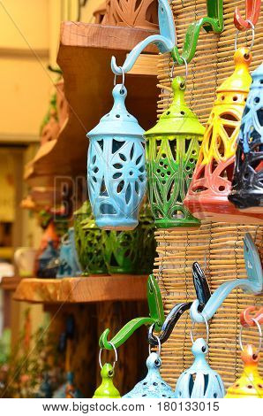 Colourful handmade lantherns as a hanging decorative motif