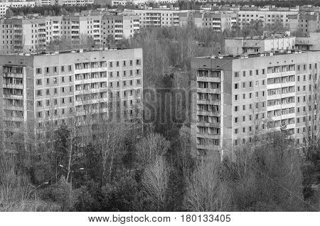 Haunting city of Pripyat in Ukraine black and white