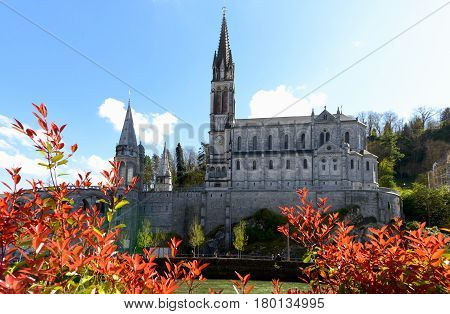 a view of the cathedral in Lourdes Pyrenees France