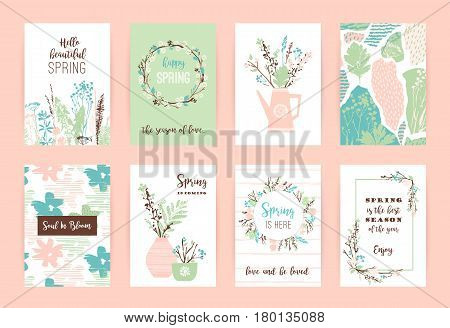Set of artistic creative spring cards. Hand Drawn textures. Spring gentle pastel colors. Design for poster, card, invitation, placard, brochure, flyer. Vector