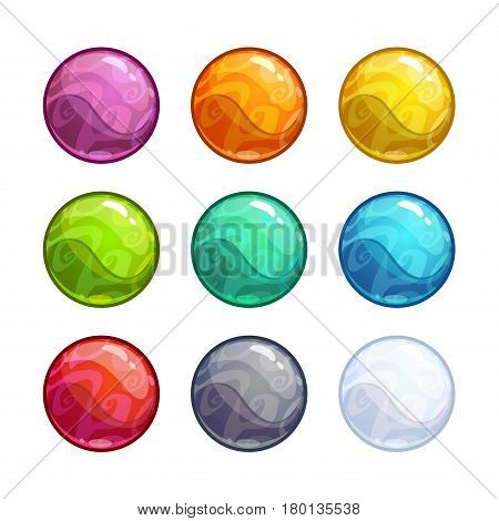 Colorful bright bubbles set. Vector glossy balls, round assets for game design.