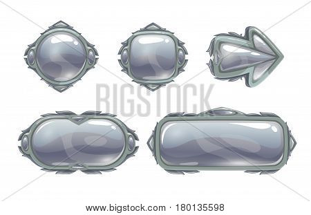 Vector silver game assets set. Metal buttons, arrow, banners, panels for GUI design. Isolated on white