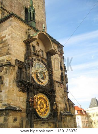 Astronomical clock tower at old town square (stare mesto) in Prague, Czech Republic. Close up clock design detail architecture at Prague city center