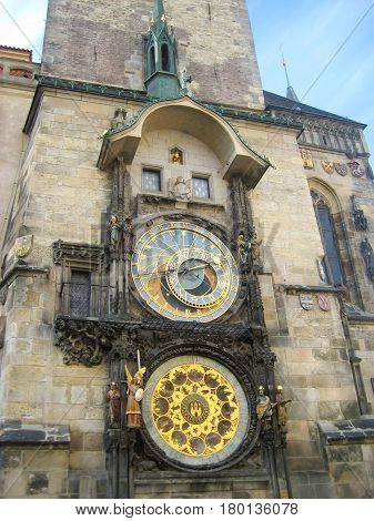 Astronomical Clock in Prague. Famous clock at Astronomical clock tower, old town square (stare mesto) in Prague, Czech Republic. Close up detail structure