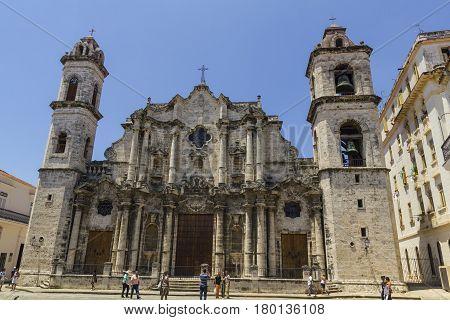 HAVANA CUBA - AUG 20: The Cathedral de San Cristobal de La Havana on August 20 2006 in Havana Cuba. It was constructed by Jesuits (1748-77) on the site of an earlier church