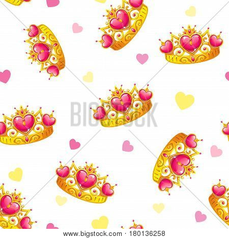 Seamless pattern with cute princess crowns and hearts on white background. Vector girlish texture.