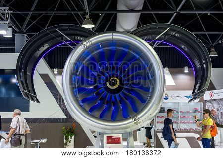 ZHUKOVSKY RUSSIA - AUG 26 2015: Airplane shown at International Aerospace Salon MAKS-2015 on august 27 2015 in Zhukovsky Moscow region Russia