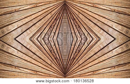Abstract symmetry brown wooden pattern suitable as background.