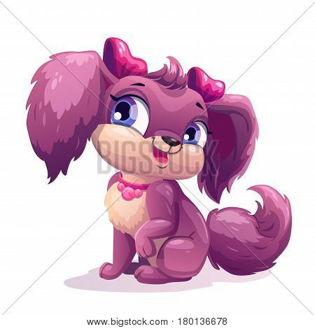 Little cute cartoon puppy girl. Little dog sitting. Vector childish illustration.