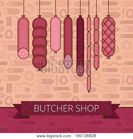 Butcher Shop Banner. Meat And Barbecue Sausage Products. Various Sausages. Flat Style. Vector Illust