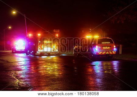Sayreville NJ, Usa - Apryl 01, 2017 Fire trucks at night responding to a call. night fire truck