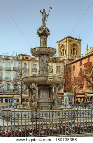 Gigantones Fountain on Plaza de Bib Rambla in Granada Spain