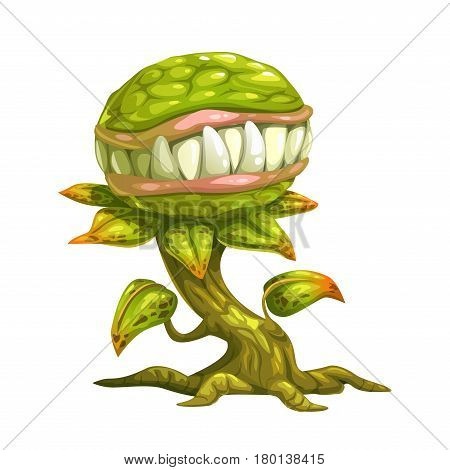 Monster plant illustration. Vector icon, isolated on white background.