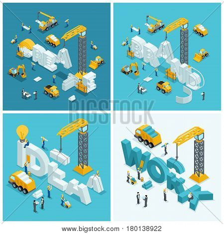Set Isometric construction concept working people excavator truck tractor construction crane a set of construction elements.