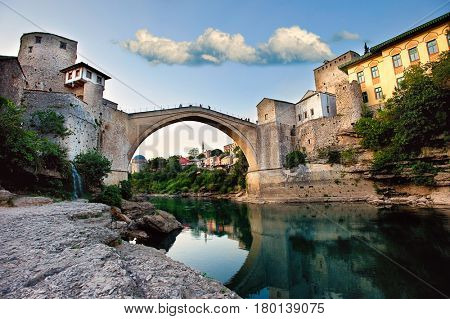 Mostar, Bosnia and Herzegovina - July 17, 2012: Mostar is a city in southern Bosnia and Herzegovina, straddling the Neretva River. It is known for the iconic name Stari Most (Old Bridge).