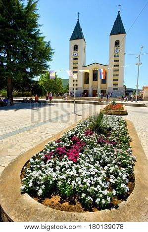 Medjugorje, Bosnia and Herzegovina - June 17, 2012: Med?ugorje, or Medjugorje, is a town located in Bosnia and Herzegovina, this is the place where it is believed that Blessed Virgin Marry appeared.