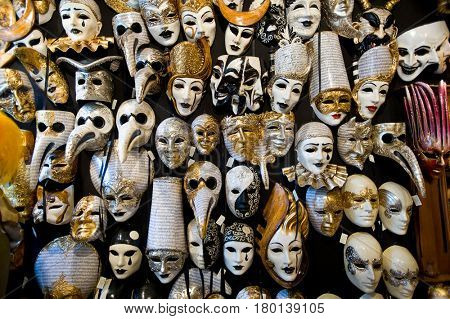 Venice, Italy - July 27, 2012: Venetian carnival masks in souvenir shop, the Carnival of Venice is an annual festival held in Venice, the Carnival ends with the Christian celebration of Lent.