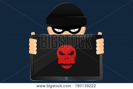 Cracker and hacker is holding in his hand a hacked modern electronic tablet with a red skull on the screen. The swindler in a black dark mask hides his face. Cap on the head. Flat style illustration