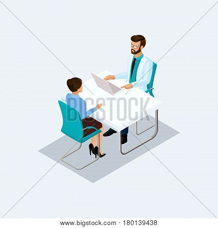 Isometric doctor takes the patient's surgeon talking at a table isolated on a light background. Vekton illustration.