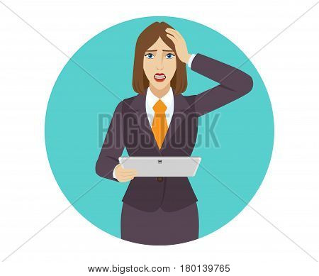 Businesswoman holding a digital tablet PC and grabbed his head. Portrait of businesswoman in a flat style. Vector illustration.