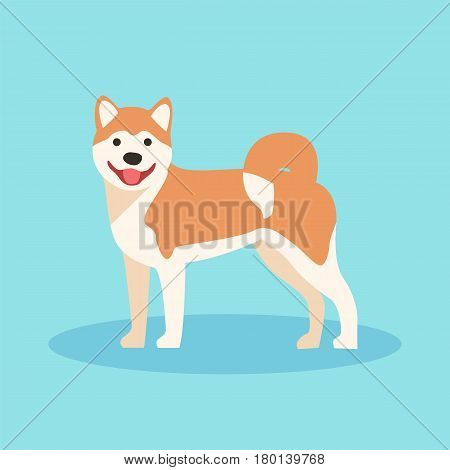 Dog akira cartoon. Dog in flat style. Vector stock.
