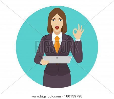OK! Businesswoman holding a digital tablet PC and showing a okay hand sign. Portrait of businesswoman in a flat style. Vector illustration.