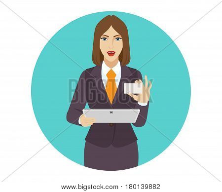 Businesswoman holding a digital tablet PC and showing the business card. Portrait of businesswoman in a flat style. Vector illustration.