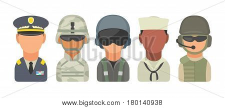 Set icon character military people. Soldier officer pilot marine trooper sailor. Vector flat illustration on turquoise circle