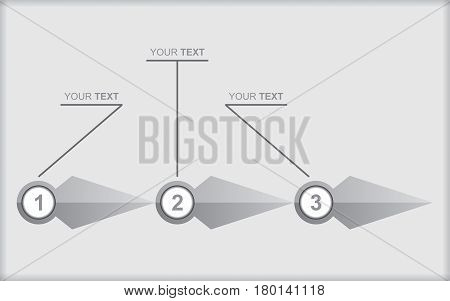 Vector flow chart template with grey arrows