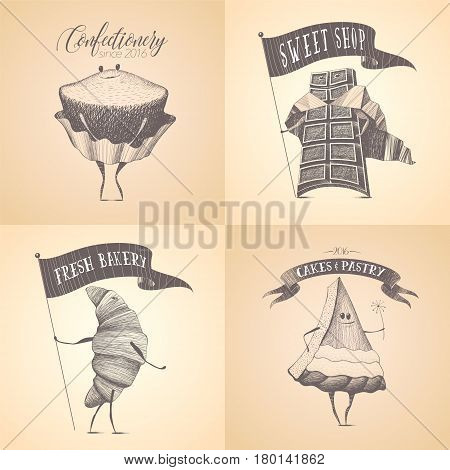 Set of sweet shop, candy store, chocolate vector logo, icon. Cute graphic design illustration with confectionary products