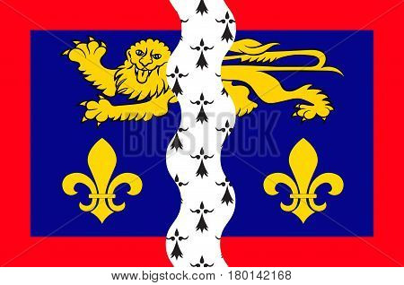 Flag of Mayenne is part of the current region of Pays de la Loire is a department in northwest France. Vector illustration