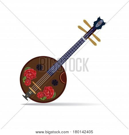 Vector illustration of ruan traditional chinese plucked string musical instrument isolated on white background. Ruan decorated with chinese peonies flat style design.