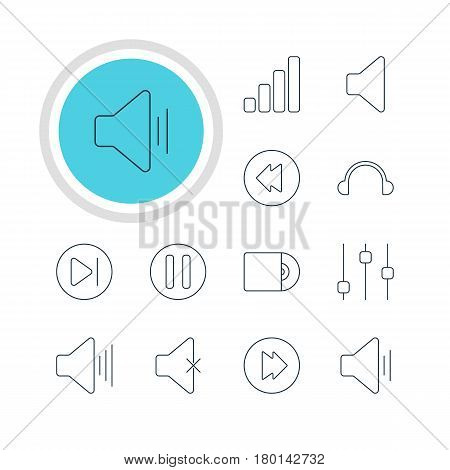 Vector Illustration Of 12 Music Icons. Editable Pack Of Reversing, Stabilizer, Audio And Other Elements.