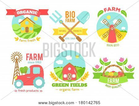 Agro badges of natural fresh products, set of bio organic emblems for agricultural marketing, collection isolated on white background, vector flat style illustration