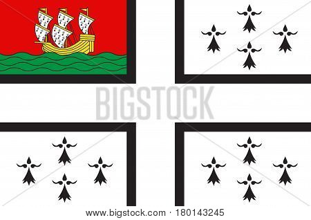 Flag of Nantes is a city in Pays de la Loire is a Region of France. Vector illustration
