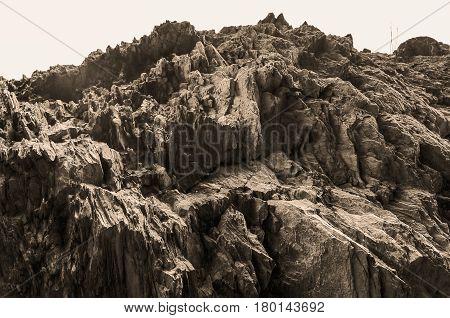Abstract rocky stone surface. Azerbaijan Gakh. Rocky mountain