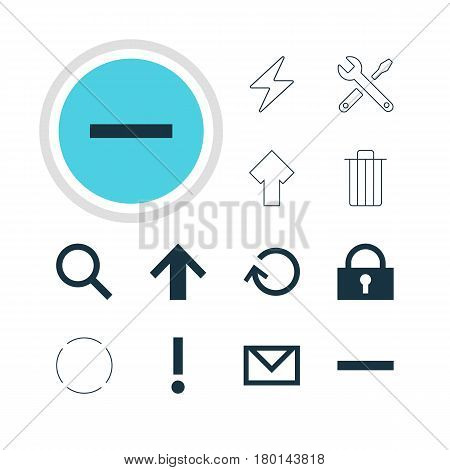 Vector Illustration Of 12 Interface Icons. Editable Pack Of Renovate, Maintenance, Bolt And Other Elements.