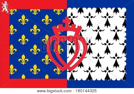 Flag of Pays de la Loire is one of the 18 regions of France. Vector illustration